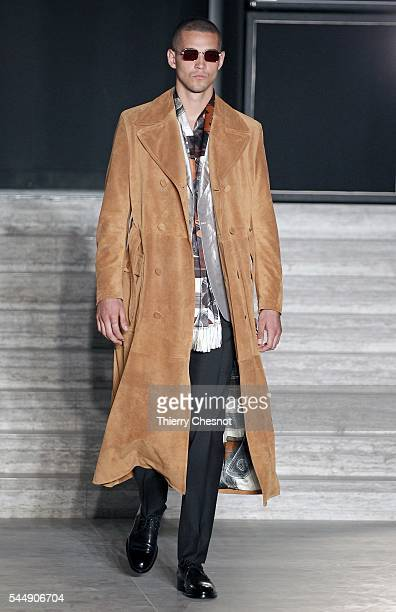 Model walks the runway during the Brioni Haute Couture Fall/Winter 2016-2017 show as part of Paris Fashion Week on July 4, 2016 in Paris, France.