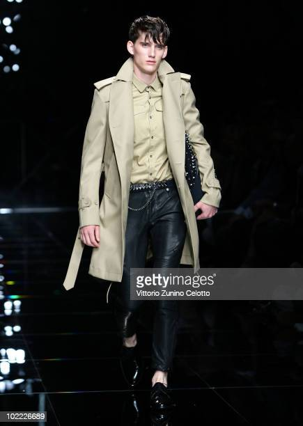 A model walks the runway during the Burberry Prorsum Milan Menswear Spring/Summer 2011 show on June 19 2010 in Milan Italy