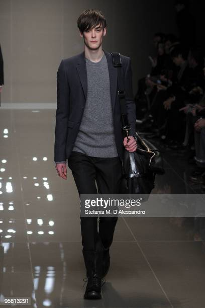 A model walks the runway during the Burberry Prorsum Milan Menswear Autumn/Winter 2010 show on January 16 2010 in Milan Italy