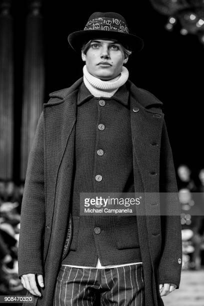 Model walks the runway during the Busnel show on the first day of Stockholm Fashion Week at the Grand Hotel on January 21, 2018 in Stockholm, Sweden.