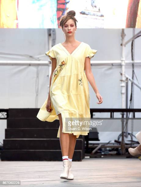 A model walks the runway during the BY Sauce X Shoestova show at Fashion Forward October 2017 held at the Dubai Design District on October 27 2017 in...