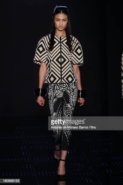 Model walks the runway during the Byblos Milano show as a part of Milan Fashion Week Womenswear Spring/Summer 2014 on September 18, 2013 in Milan,...