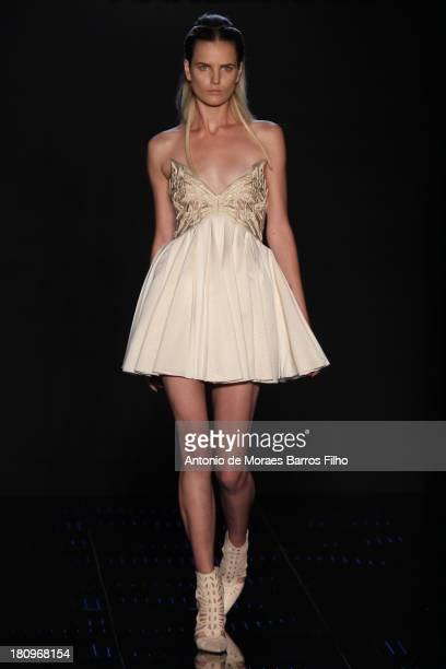 A model walks the runway during the Byblos Milano show as a part of Milan Fashion Week Womenswear Spring/Summer 2014 on September 18 2013 in Milan...