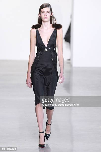 Model walks the runway during the Calvin Klein Collection show as a part of Fall 2016 New York Fashion Week at Spring Studios on February 18, 2016 in...