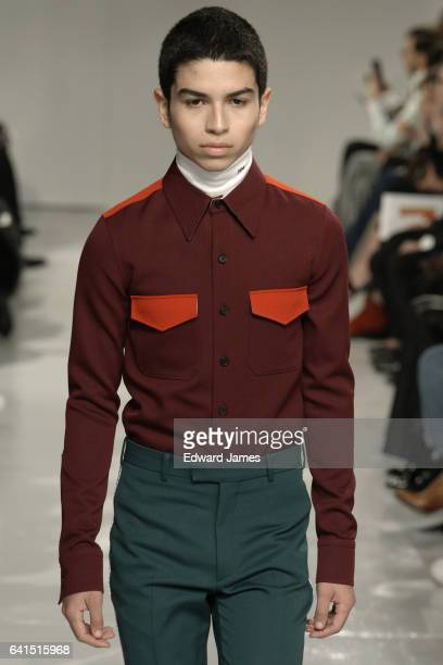 A model walks the runway during the Calvin Klein Fall/Winter 2017/2018 collection fashion show on February 10 2017 in New York City