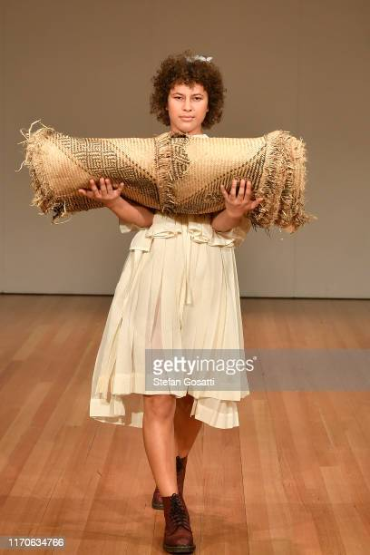A model walks the runway during the Campbell Luke show during New Zealand Fashion Week 2019 at Auckland Town Hall on August 28 2019 in Auckland New...