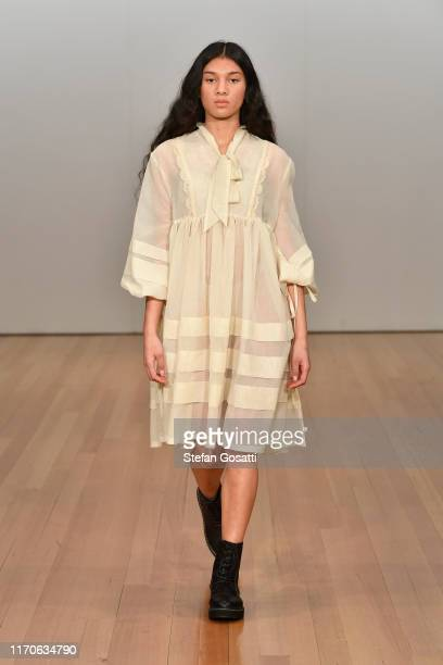 Model walks the runway during the Campbell Luke show during New Zealand Fashion Week 2019 at Auckland Town Hall on August 28, 2019 in Auckland, New...