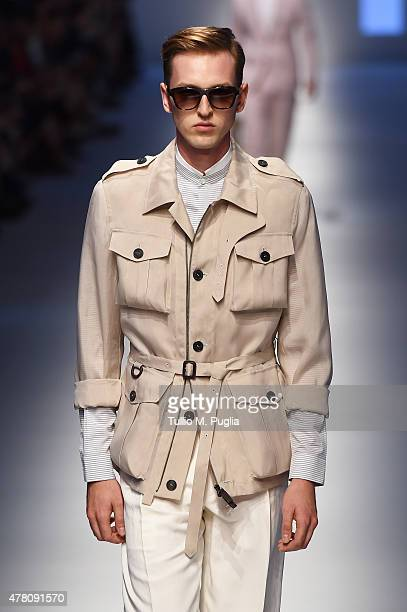 Model walks the runway during the Canali fashion show as part of Milan Men's Fashion Week Spring/Summer 2016 on June 22, 2015 in Milan, Italy.