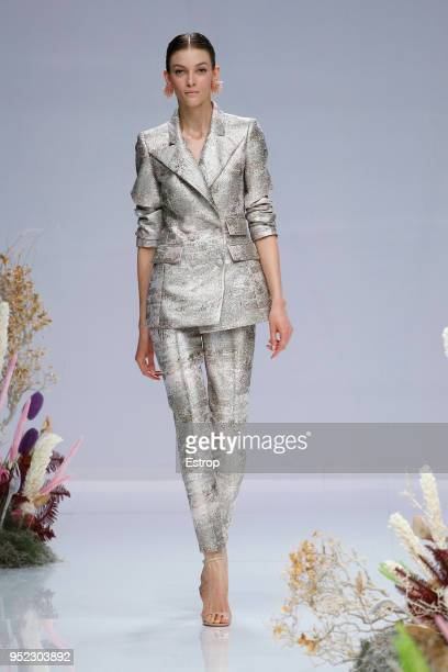 A model walks the runway during the Carla Ruiz show as part of the Barcelona Bridal Week 2018 on April 27 2018 in Barcelona Spain