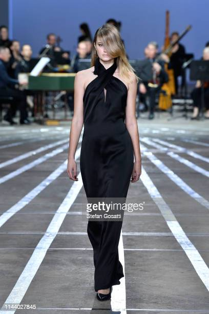 A model walks the runway during the Carla Zampatti show at MercedesBenz Fashion Week Resort 20 Collections at Carriageworks on May 16 2019 in Sydney...