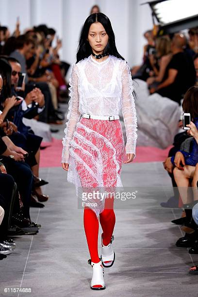 A model walks the runway during the Carven designed by Guillaume Henry show as part of the Paris Fashion Week Womenswear Spring/Summer 2017 on...
