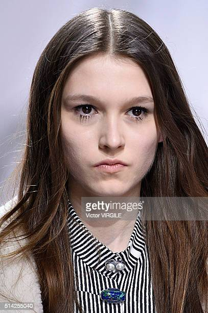 A model walks the runway during the Carven fashion show as part of the Paris Fashion Week Womenswear Fall/Winter 2016/2017 on March 3 2016 in Paris...