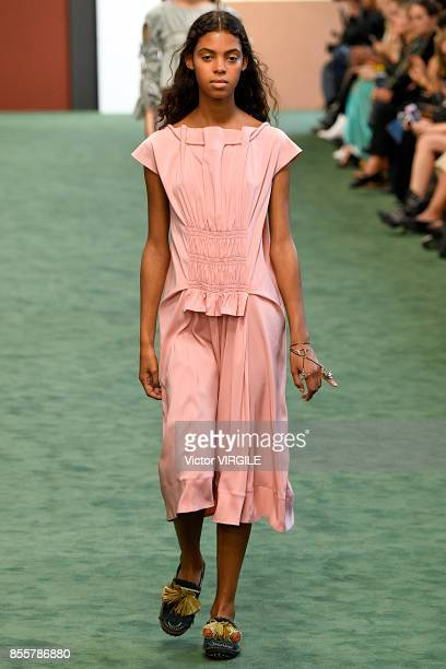 A model walks the runway during the Carven Ready to Wear Spring/Summer 2018 fashion show as part of Paris Fashion Week Womenswear Spring/Summer 2018...