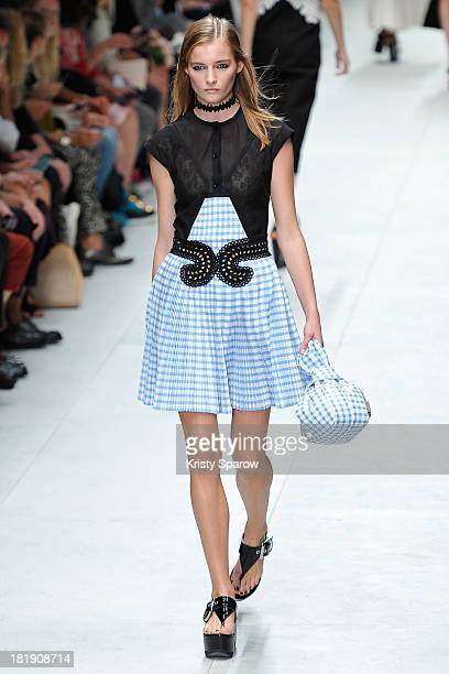 A model walks the runway during the Carven show as part of Paris Fashion Week Womenswear Spring/Summer 2014 on September 26 2013 in Paris France