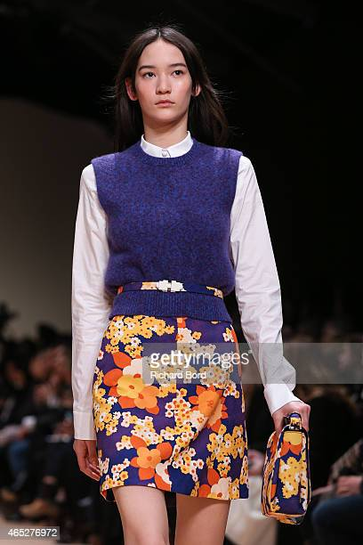A model walks the runway during the Carven show as part of the Paris Fashion Week Womenswear Fall/Winter 2015/2016 at Espace Ephemere des Tuileries...