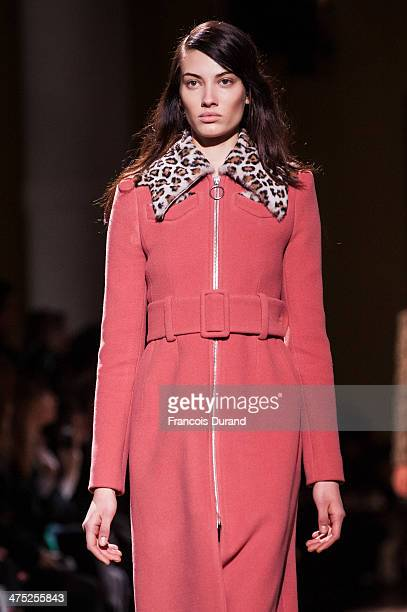 A model walks the runway during the Carven show as part of the Paris Fashion Week Womenswear Fall/Winter 20142015 on February 27 2014 in Paris France