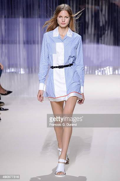 A model walks the runway during the Carven show as part of the Paris Fashion Week Womenswear Spring/Summer 2016 on October 1 2015 in Paris France