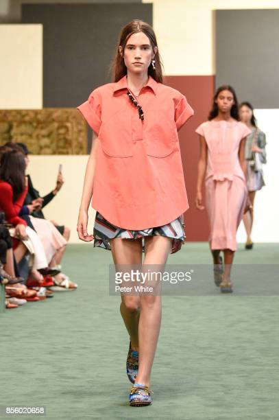 A model walks the runway during the Carven show as part of the Paris Fashion Week Womenswear Spring/Summer 2018 on September 28 2017 in Paris France