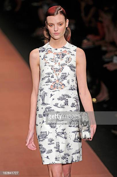 A model walks the runway during the Carven Spring / Summer 2013 show as part of Paris Fashion Week on September 27 2012 in Paris France