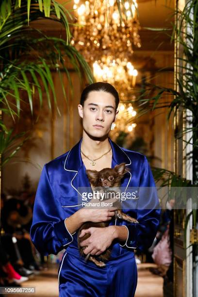 A model walks the runway during the Casablanca Menswear Fall/Winter 20192020 show as part of Paris Fashion Week on January 17 2019 in Paris France