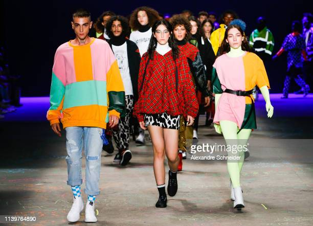 A model walks the runway during the Cavalera fashion show during Sao Paulo Fashion Week N47 Summer 2020 at Arca on April 27 2019 in Sao Paulo Brazil