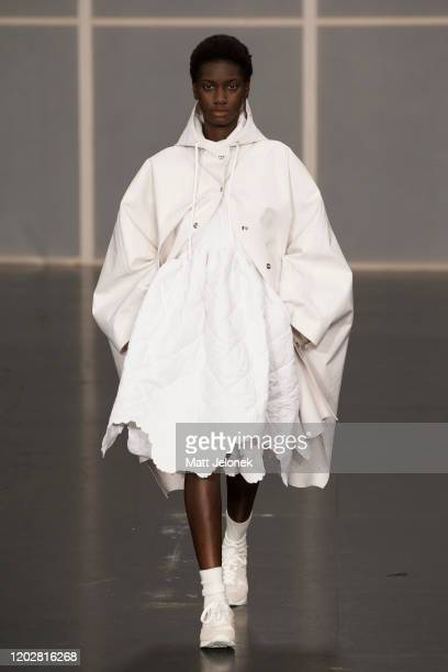 Model walks the runway during the Cecilie Bahnsen show during Copenhagen Fashion Week Autumn/Winter 2020 on January 28, 2020 in Copenhagen, Denmark.