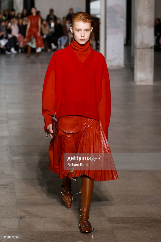 model-walks-the-runway-during-the-cedric-charlier-show-as-part-of-the-picture-id1133272752