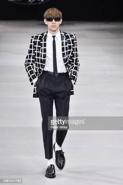 A model walks the runway during the Celine Menswear Fall/Winter 20192020 show as part of Paris Fashion Week on January 20 2019 in Paris France
