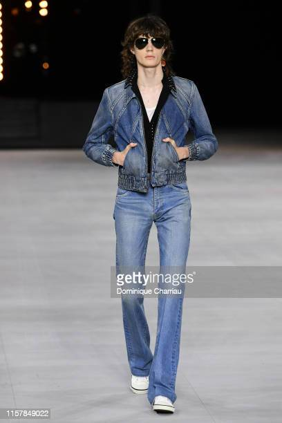 Model walks the runway during the Celine Menswear Spring Summer 2020 show as part of Paris Fashion Week on June 23, 2019 in Paris, France.