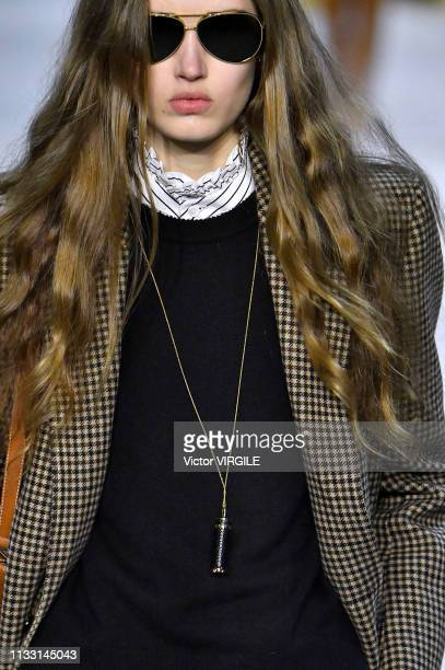 Model walks the runway during the Celine Ready to Wear fashion show as part of the Paris Fashion Week Womenswear Fall/Winter 2019/2020 on February...