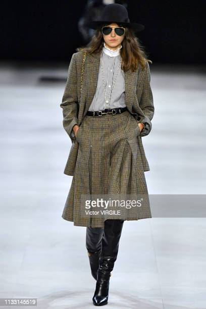 A model walks the runway during the Celine Ready to Wear fashion show as part of the Paris Fashion Week Womenswear Fall/Winter 2019/2020 on February...