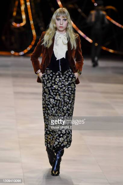 A model walks the runway during the Celine Ready to Wear fashion show as part of the Paris Fashion Week Womenswear Fall/Winter 20202021 on February...