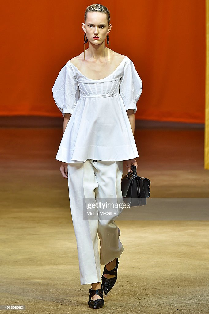 A model walks the runway during the Celine Ready to Wear show as part of the Paris Fashion Week Womenswear Spring/Summer 2016 on October 4, 2015 in Paris, France.
