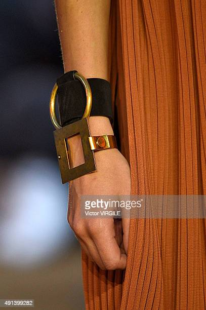 A model walks the runway during the Celine Ready to Wear show as part of the Paris Fashion Week Womenswear Spring/Summer 2016 on October 4 2015 in...