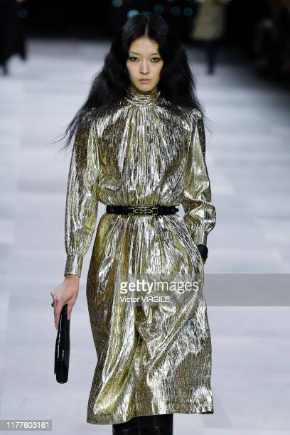 A model walks the runway during the Celine Ready to Wear Spring/Summer 2020 fashion show as part of Paris Fashion Week on September 27 2019 in Paris...