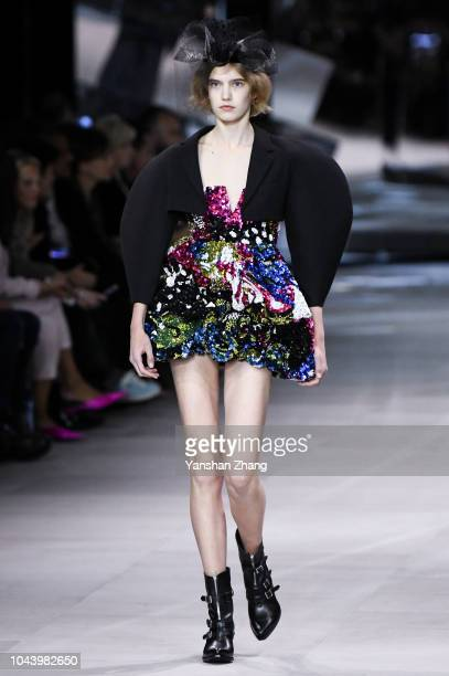 A model walks the runway during the Celine show as part of the Paris Fashion Week Womenswear Spring/Summer 2019 on September 28 2018 in Paris France