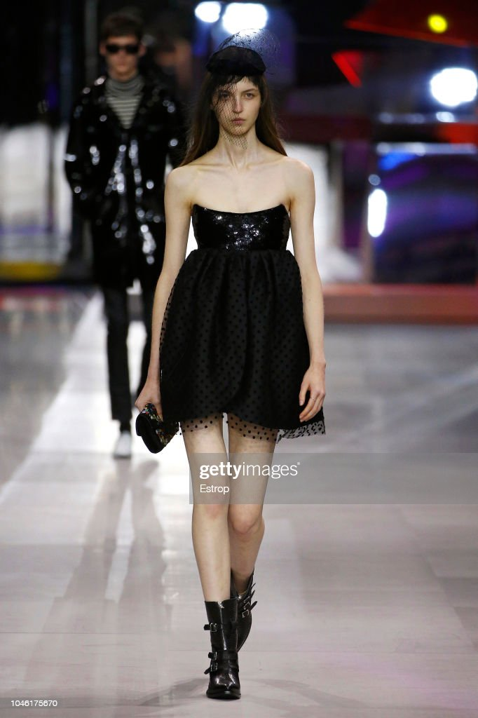 model-walks-the-runway-during-the-celine-show-as-part-of-the-paris-picture-id1046175670