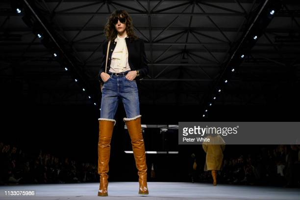 Model walks the runway during the Celine show as part of the Paris Fashion Week Womenswear Fall/Winter 2019/2020 on March 01, 2019 in Paris, France.