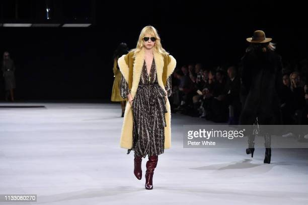 A model walks the runway during the Celine show as part of the Paris Fashion Week Womenswear Fall/Winter 2019/2020 on March 01 2019 in Paris France