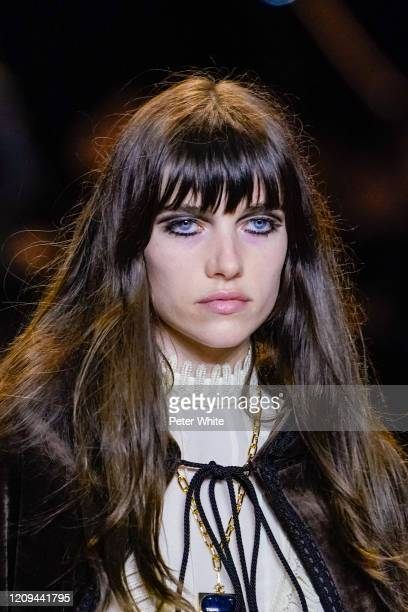 Model walks the runway during the Celine show as part of the Paris Fashion Week Womenswear Fall/Winter 2020/2021 on February 28, 2020 in Paris,...