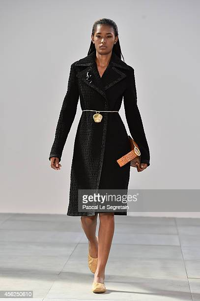 Model walks the runway during the Celine show as part of the Paris Fashion Week Womenswear Spring/Summer 2015 on September 28, 2014 in Paris, France.