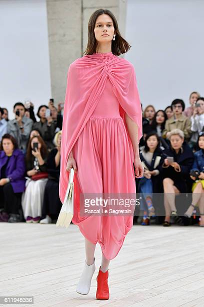 Model walks the runway during the Celine show as part of the Paris Fashion Week Womenswear Spring/Summer 2017 on October 2, 2016 in Paris, France.
