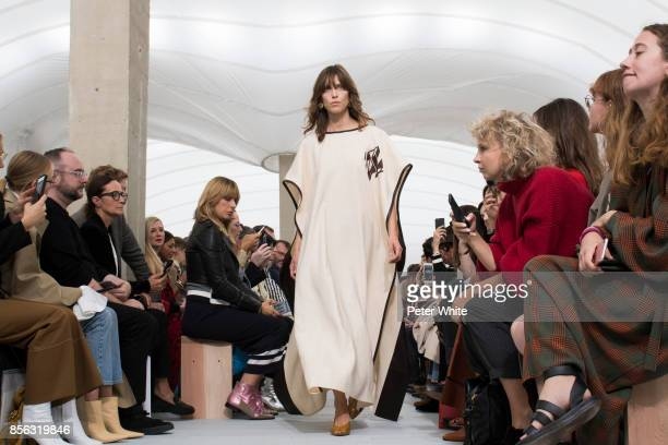 A model walks the runway during the Celine show as part of the Paris Fashion Week Womenswear Spring/Summer 2018 on October 1 2017 in Paris France
