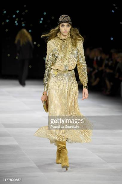 Model walks the runway during the Celine Womenswear Spring/Summer 2020 show as part of Paris Fashion Week on September 27, 2019 in Paris, France.