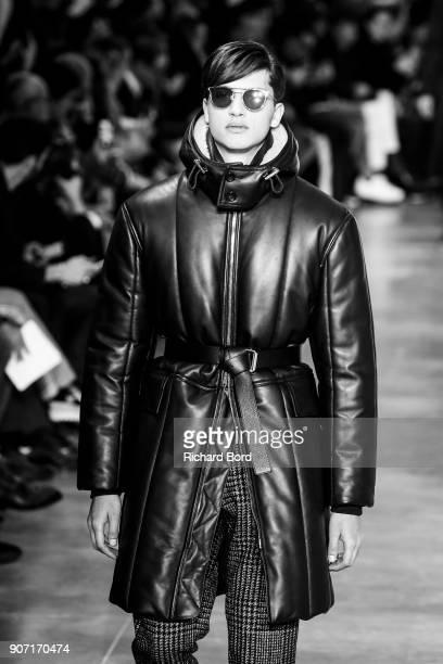 A model walks the runway during the Cerruti 1881 Menswear Fall/Winter 20182019 show at Palais de Tokyo as part of Paris Fashion Week on January 19...