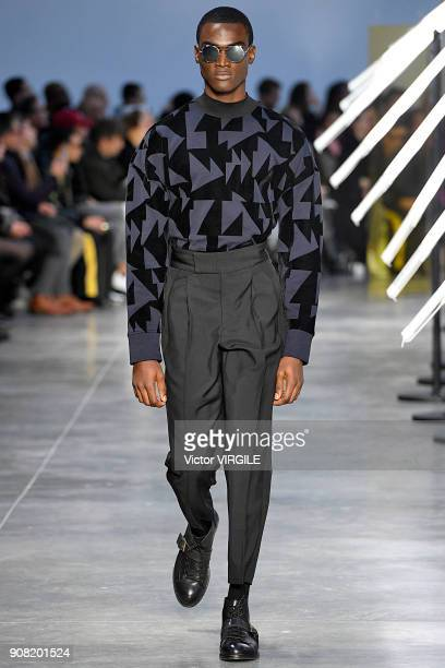 A model walks the runway during the Cerruti 1881 Menswear Fall/Winter 20182019 show as part of Paris Fashion Week on January 19 2018 in Paris France