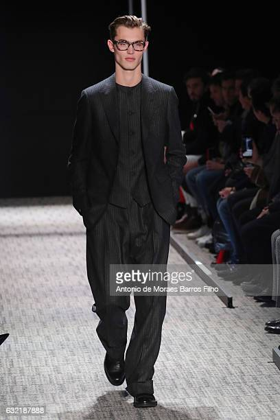 A model walks the runway during the Cerruti Menswear Fall/Winter 20172018 show as part of Paris Fashion Week on January 20 2017 in Paris France