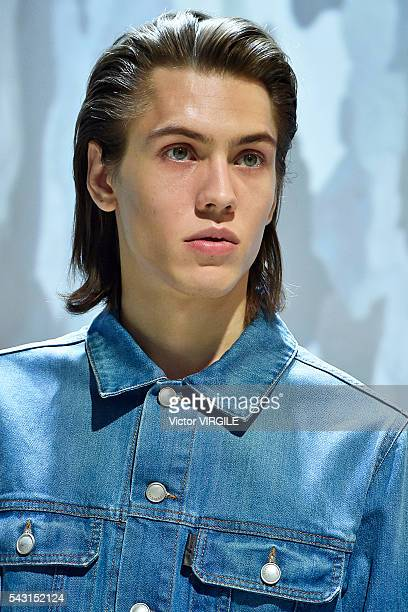 A model walks the runway during the Cerruti Menswear Spring/Summer 2017 show as part of Paris Fashion Week on June 24 2016 in Paris France