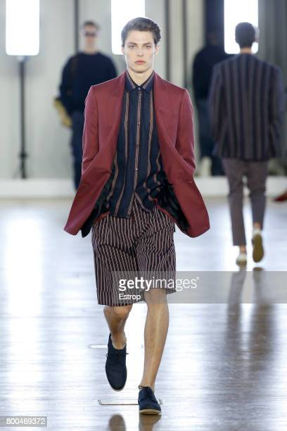 A model walks the runway during the Cerruti Menswear Spring/Summer 2018 show as part of Paris Fashion Week on June 23 2017 in Paris France