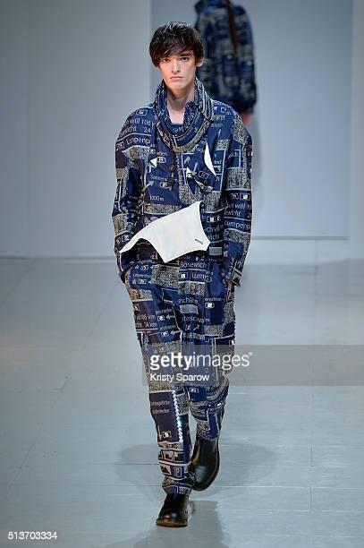 A model walks the runway during the Chalayan show as part of Paris Fashion Week Womenswear Fall/Winter 2016/2017 on March 4 2016 in Paris France
